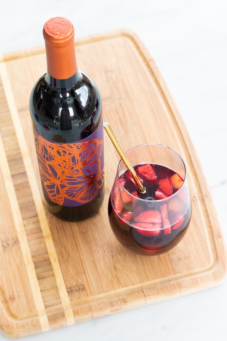 Red Wine Berry Sangria with Orange Juice Ice Cubes