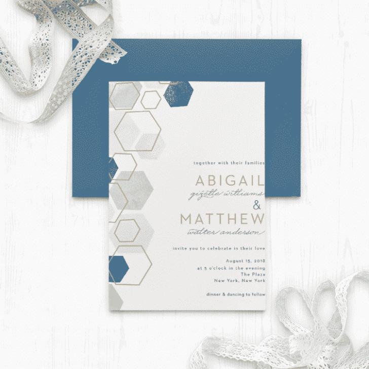 Geometric Watercolor Wedding Invitations