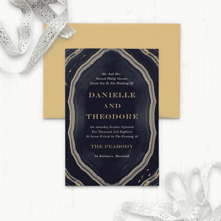 Gorgeous Geode Foil Wedding Invitations