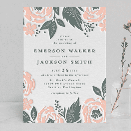 Punchy Peonies Wedding Invitations