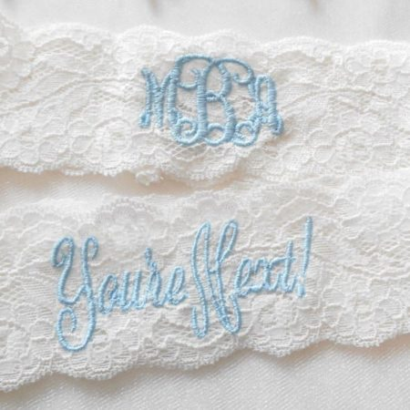 Monogrammed Lace Wedding Garter Set