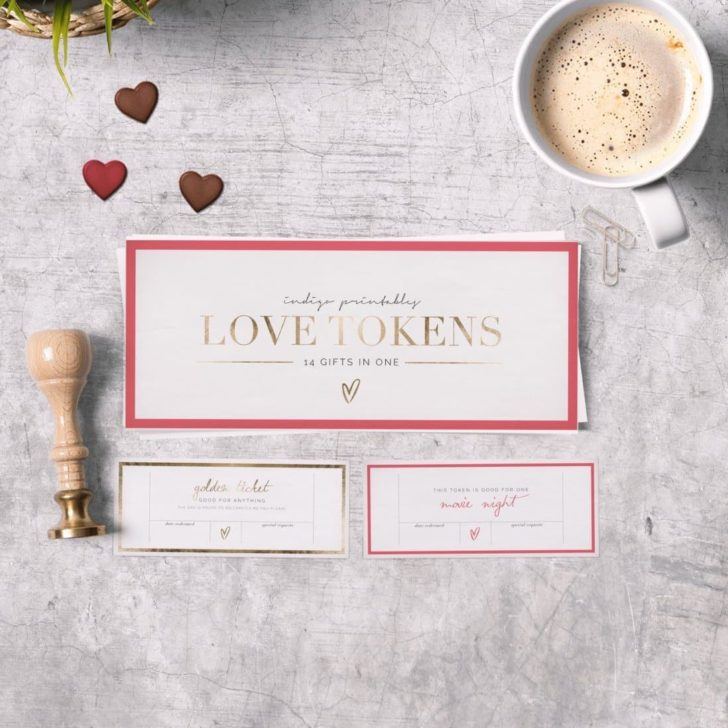 love tokens printable valentines' day gift