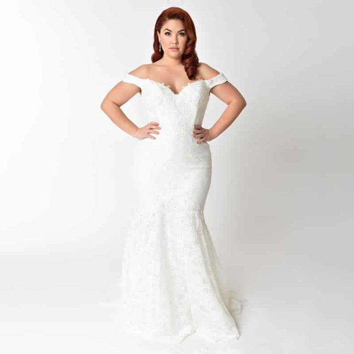 Plus Size Ivory Floral Lace Pearl Beaded Mermaid Wedding Gown - Unique Vintage