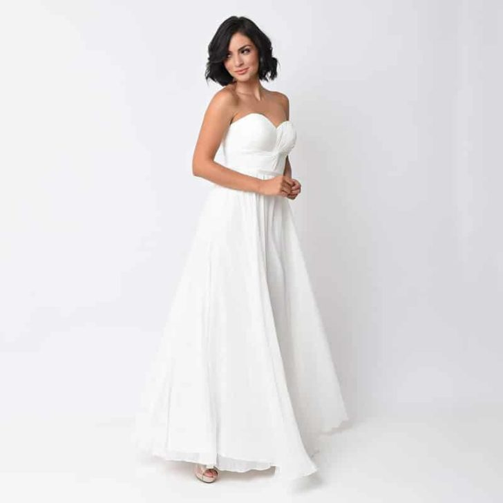 Off White Chiffon Strapless Sweetheart Corset Long Gown - Unique Vintage