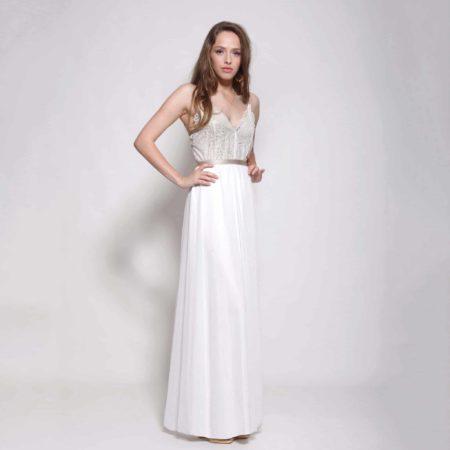 Bohemian lace top wedding dress