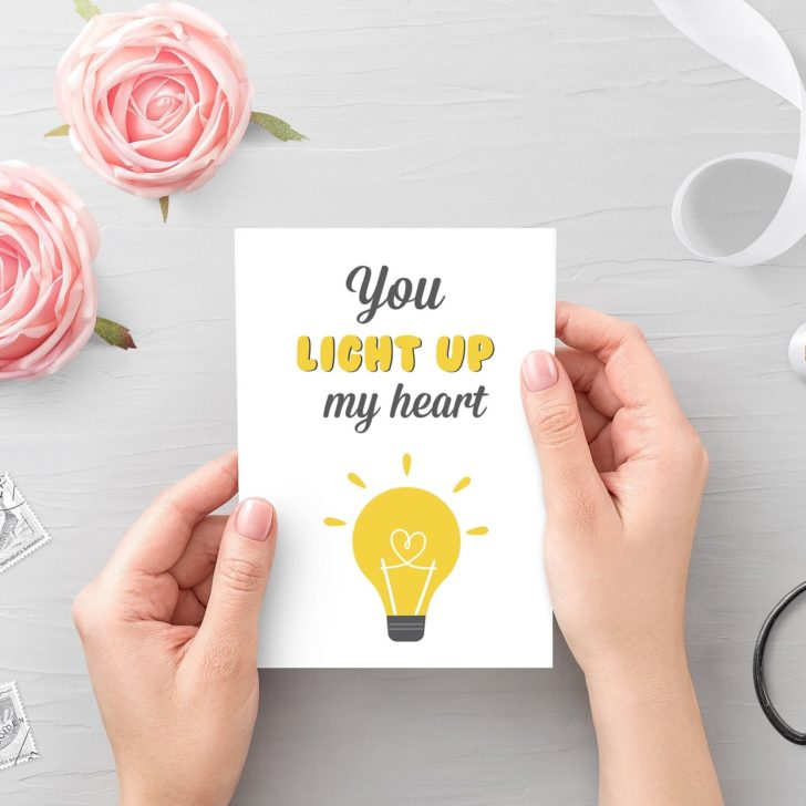 You Light Up My Heart Printable Valentine's Card