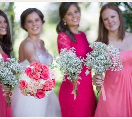 Pink and White Brunch Barn Wedding