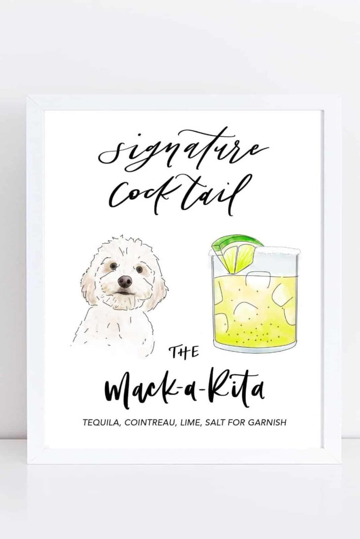 custom dog illustration signature cocktail sign - name your cocktail after your dog