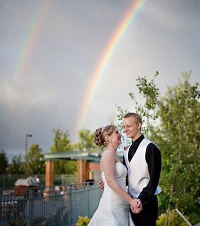 double rainbow at a wedding