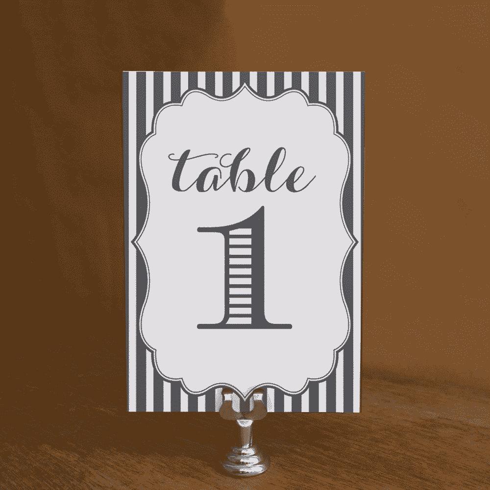 Stripe Table Numbers
