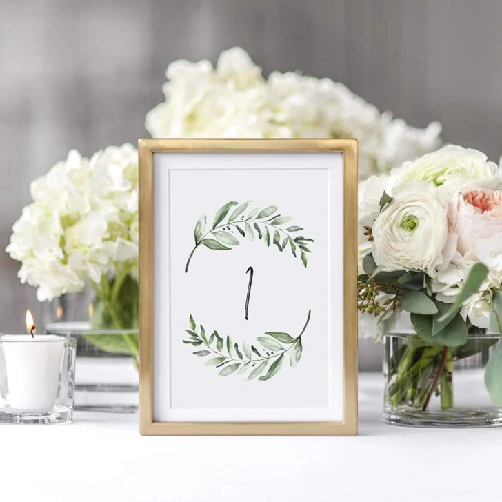 amazon wedding decor - greenery printed table numbers