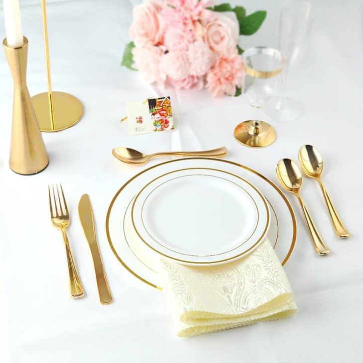 amazon wedding decor - plastic dishes and flatware