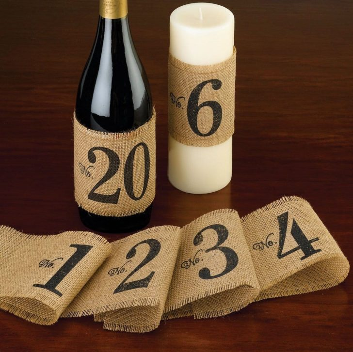 amazon wedding decor - wine bottle burlap table numbers
