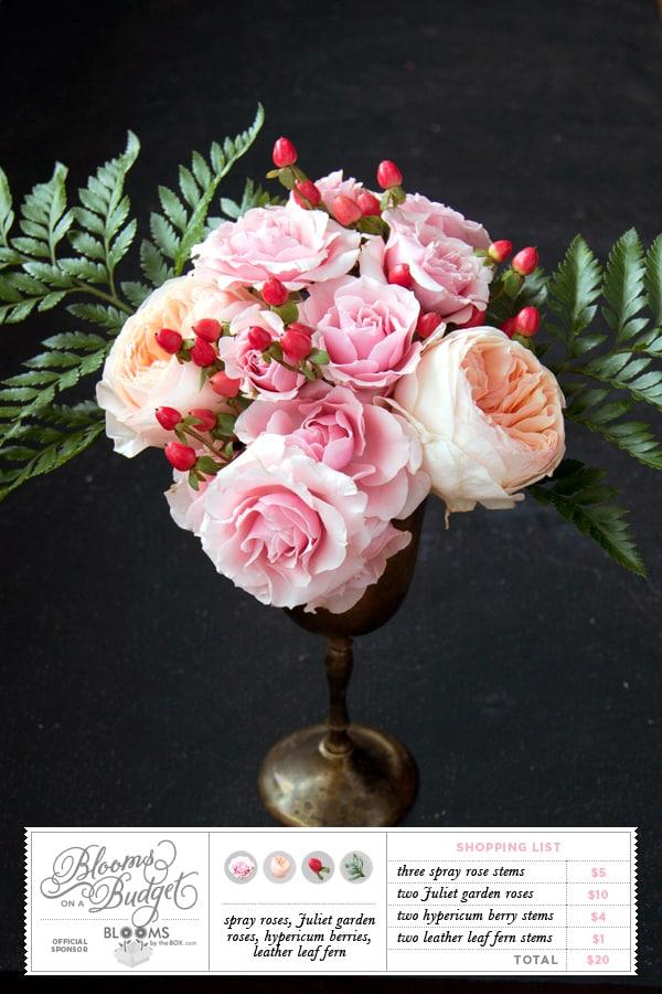 DIY Wedding Flowers : Blooms on a Budget Peach and Pink Garden Roses Arrangement