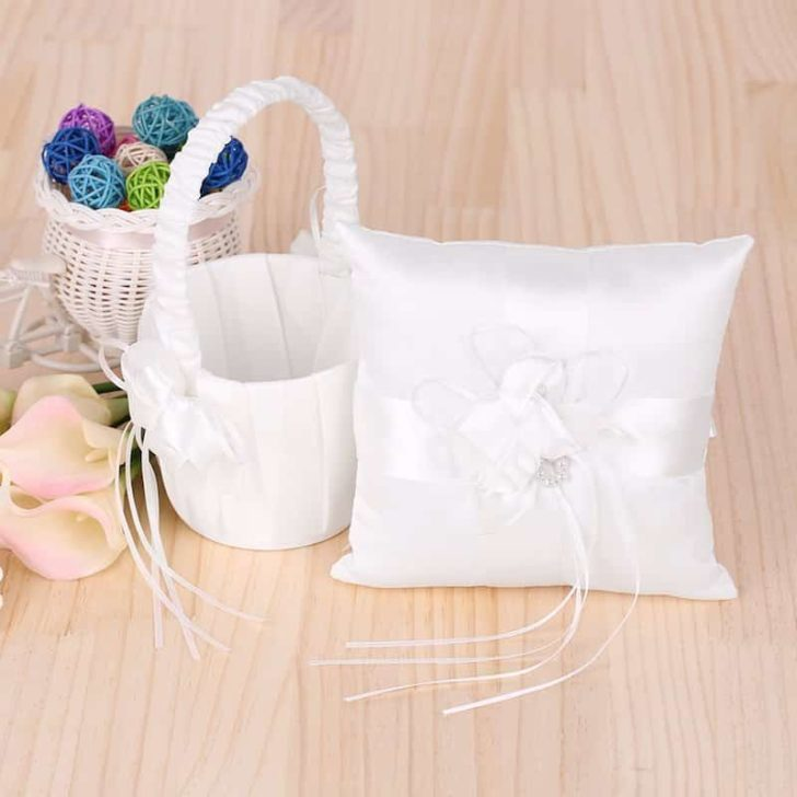 amazon wedding decor - flower girl basket and ring pillow set