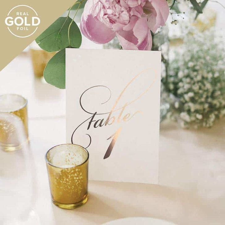 amazon wedding decor - rose gold foil table numbers