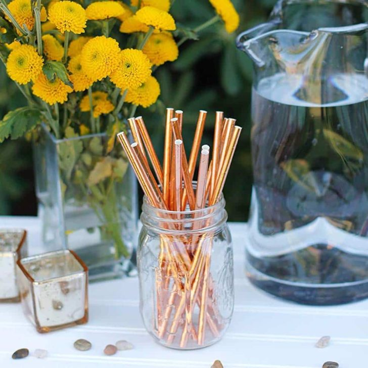 amazon wedding decor - metallic straws