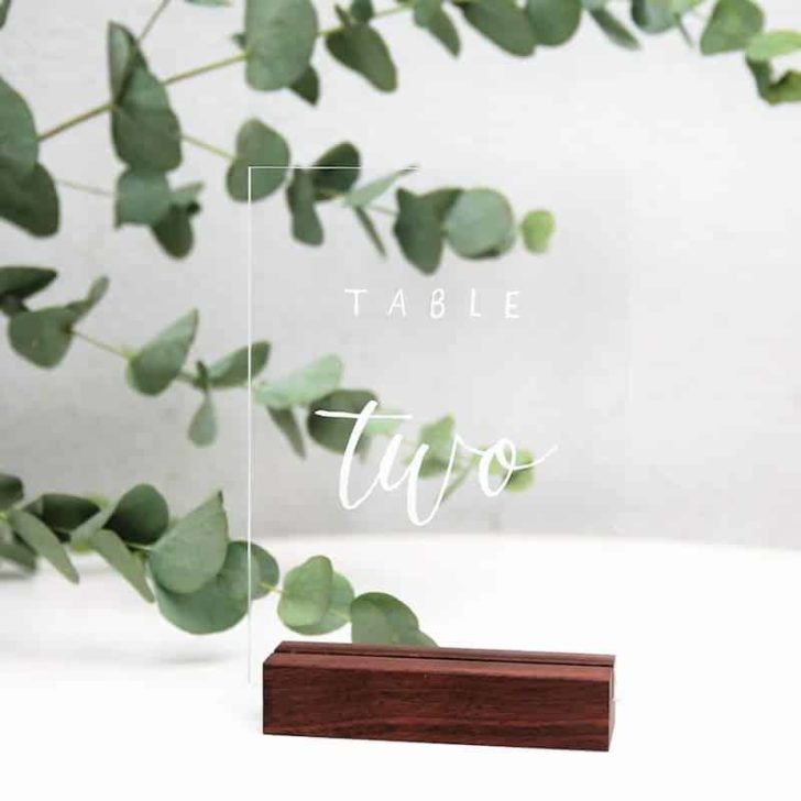 amazon wedding decor - acrylic and wood table numbers