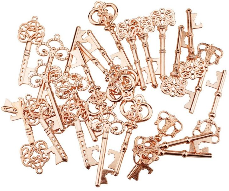 amazon wedding decor - rose gold key favors