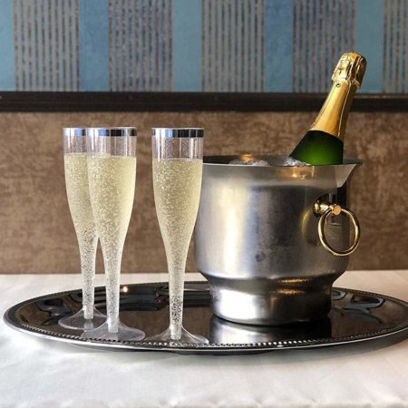 Plastic Glitter Champagne Flutes