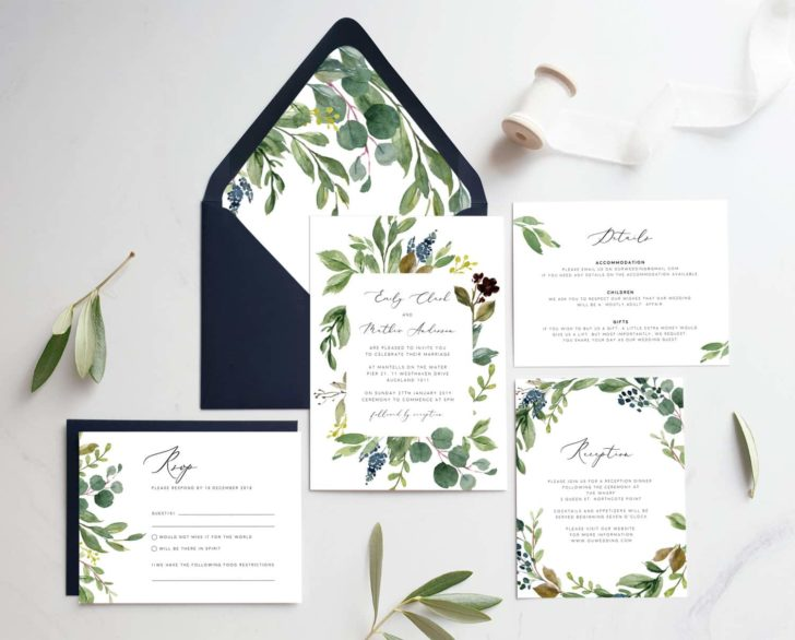 timberwink studio greenery wedding invitations