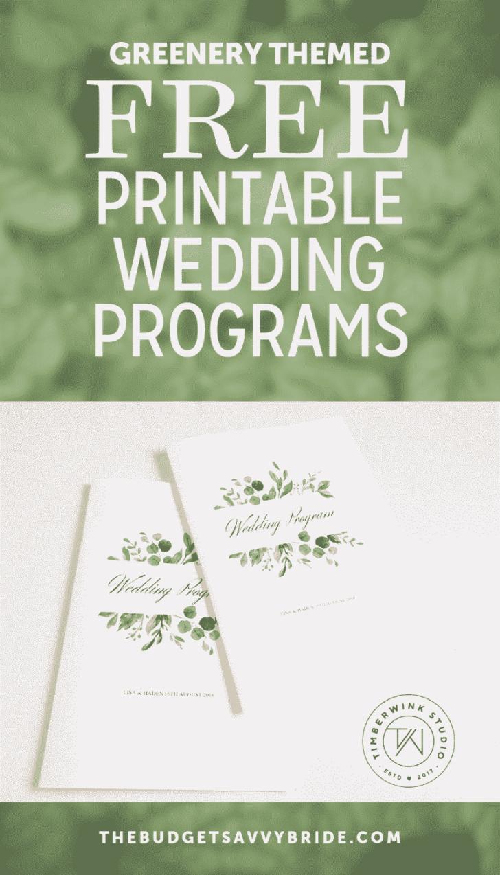 greenery wedding programs from Timberwink Studio