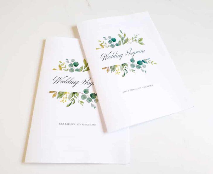printable wedding programs with a greenery theme
