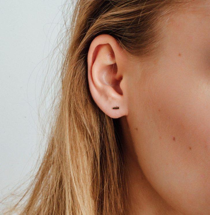 Dainty Gold Bar Earrings   Delicate Jewelry   Dainty Wedding Jewelry   Simple Wedding Accessories