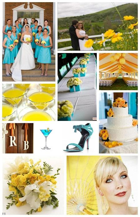 Wedding Color Scheme Turquoise Aqua Yellow Orange