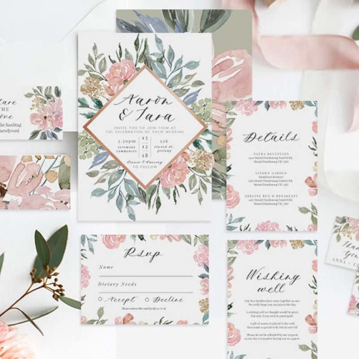fabledweddings dusty pink watercolor invitations