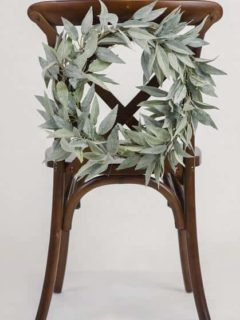 Leaf wreath chair decor from Something Borrowed Blooms