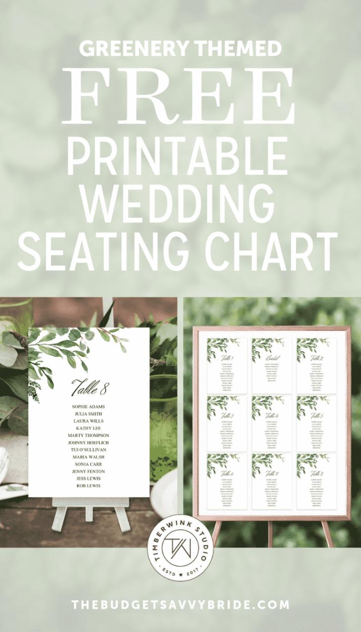 greenery wedding seating chart from Timberwink Studio