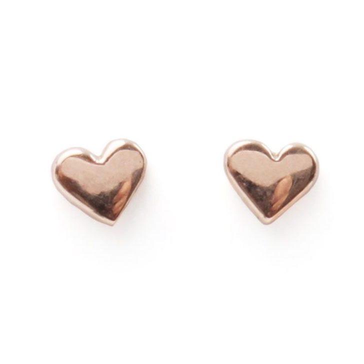 CATBIRD HEART ROSE GOLD EARRINGS   Delicate Jewelry   Dainty Wedding Jewelry
