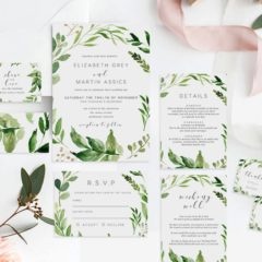 fabledweddings green leaves watercolor invitations