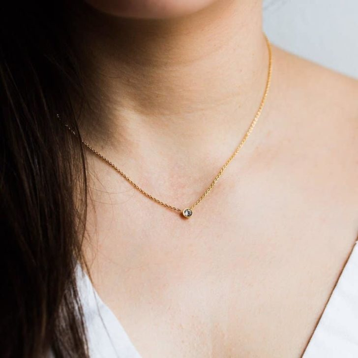 local eclectic solitaire necklace   Delicate Jewelry   Dainty Jewelry   Minimalist Wedding Jewelry