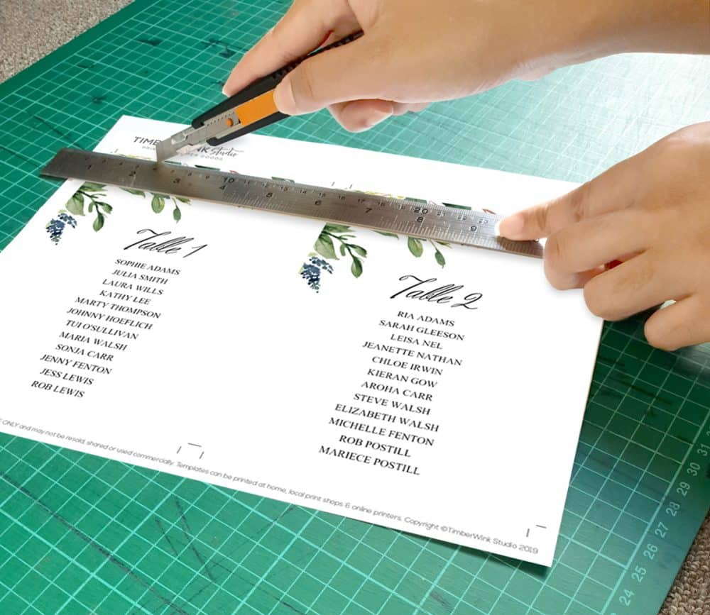 trimming table numbers