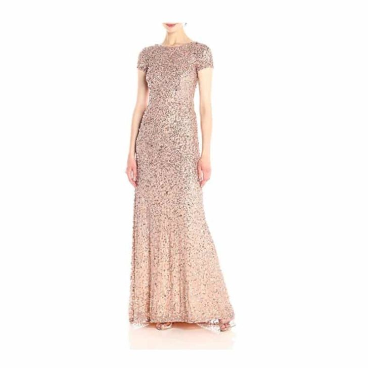 All Over Sequin Gown With Train by Adrianna Papell
