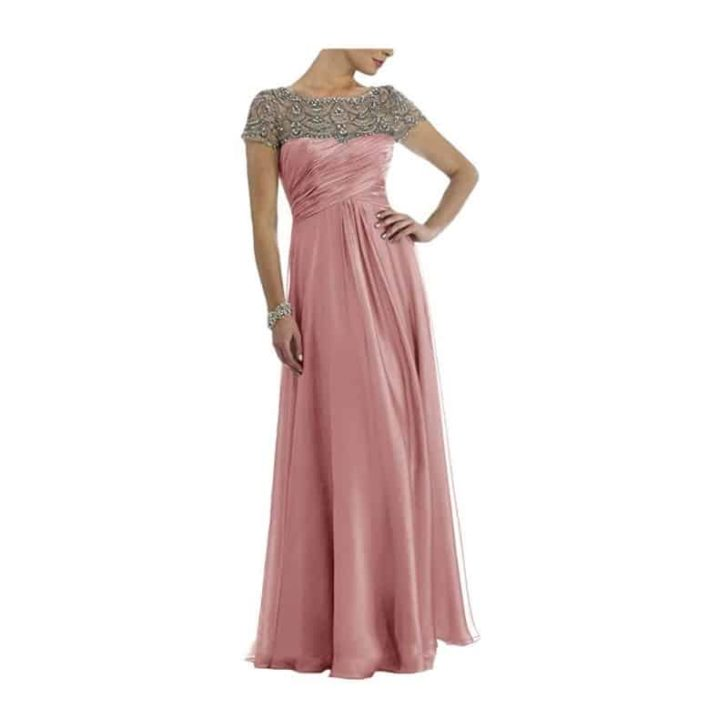 Chiffon Long Pleated Dress With Rhinestones by Newdeve
