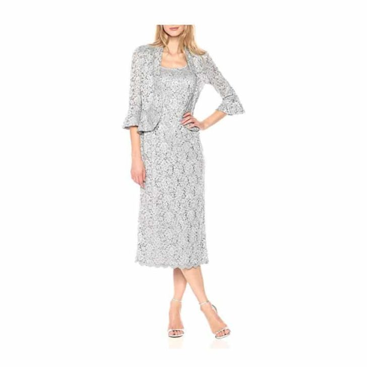 Two Piece Lace Long Jacket Dress by R&M
