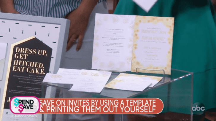 strahan and sara - gma - save money on a wedding - invitations DIY