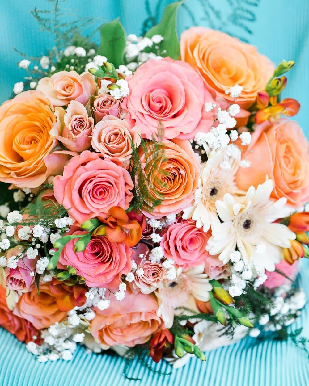 colorful coral bouquet