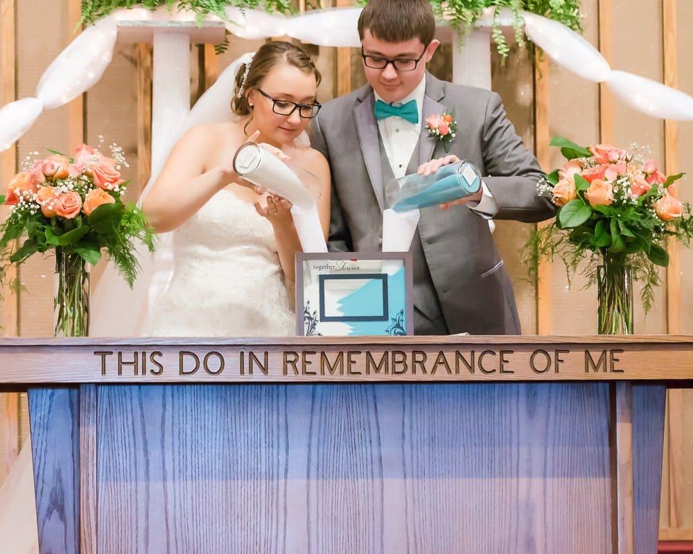 coral church wedding