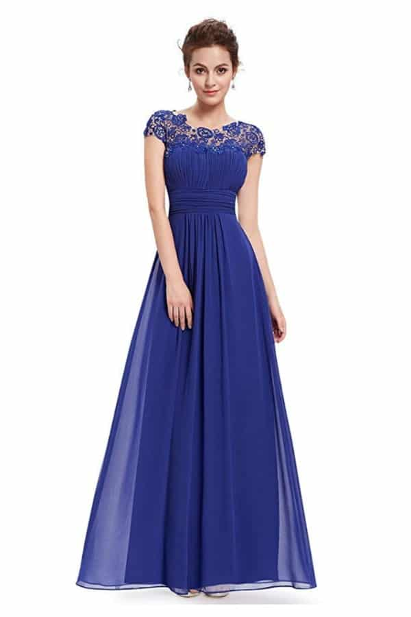 Cap Sleeve Lace Neck Gown By Ever Pretty