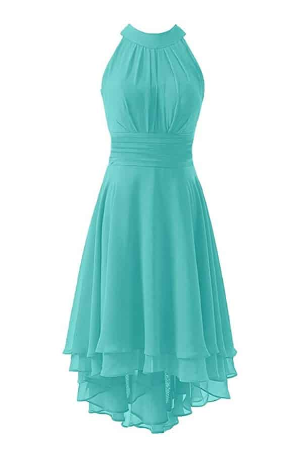 Chiffon Halter High Low Dress By: Kevins Bridal