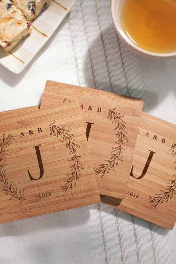 5th Wedding Anniversary Gift Idea - CUSTOM WOOD COASTERS