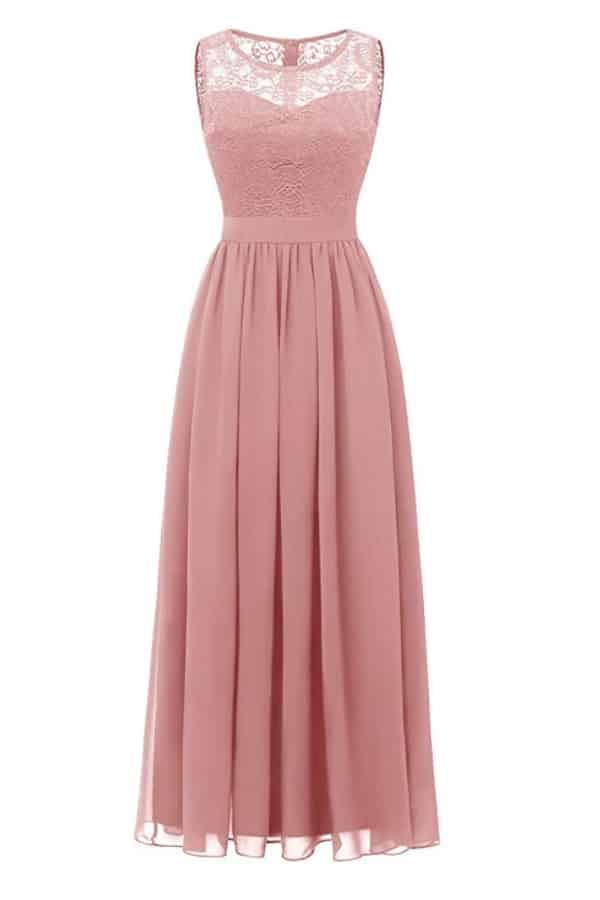 Lace Chiffon Sleeveless Bridesmaid Dress  By DressyStar