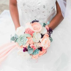 Pine and Petal Weddings - peach and coral wooden flower bouquet