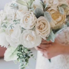 Pine and Petal Weddings - sola wood flower bouquet