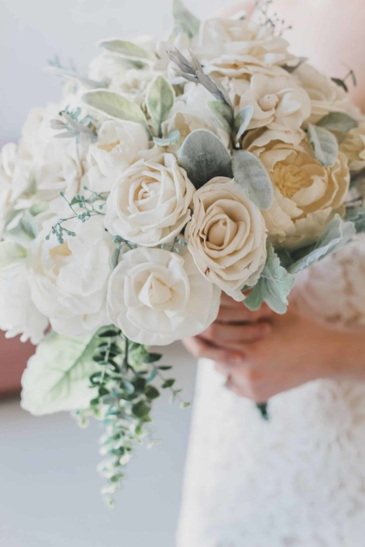 Pine and Petal Weddings - sola wood flower bouquet