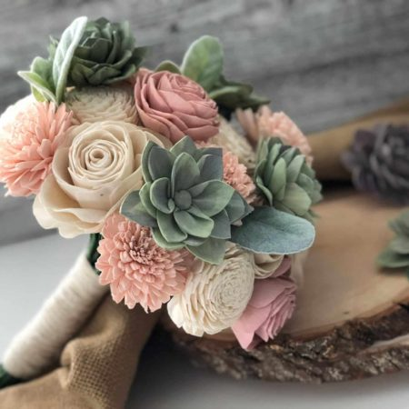 Soft Succulent Bouquet - Wooden Flowers